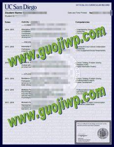 fake University of California, San Diego transcript