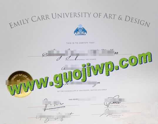 Emily Carr University of Art and Design degree certificate