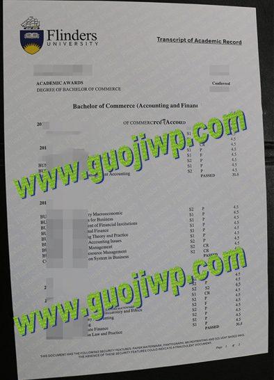 fake Flinders University transcript