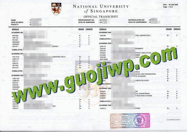 buy National University of Singapore fake transcript