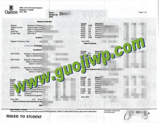 Queen's University fake transcript