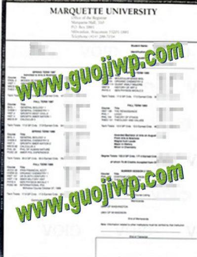 Marquette University fake transcript