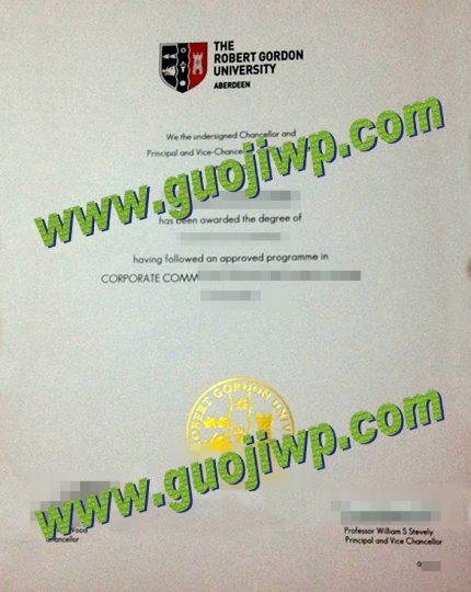 fake Robert Gordon University degree certificate