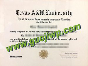 Texas A&M University degee certificate