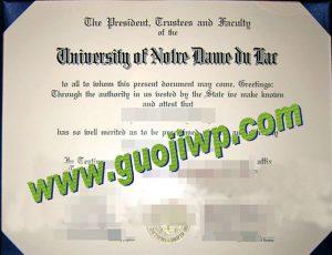 University of Notre Dame certificate