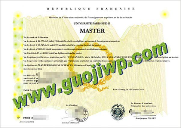 fake Université de Paris-Sud-Paris 11 diploma