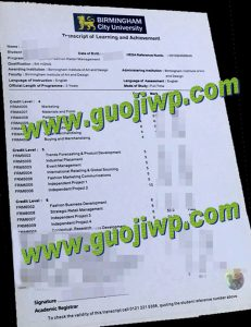 fake Birmingham City University transcript