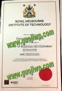 RMIT University degree certificate