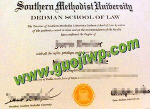 Southern Methodist University degree certificate