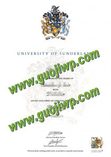 University of Sunderland degree certificate